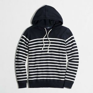 J. Crew Navy Striped Cotton Hoodie
